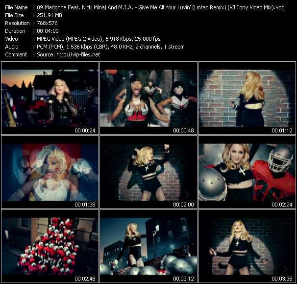 Madonna Feat. Nicki Minaj And M.I.A. - Give Me All Your Luvin' (Lmfao Remix) (VJ Tony Video Mix)
