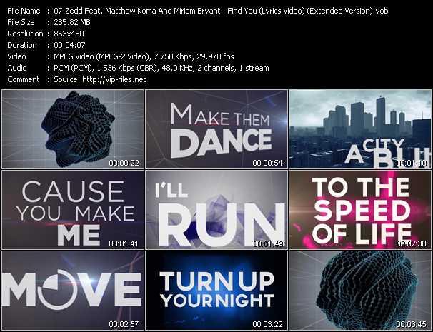 Zedd Feat. Matthew Koma And Miriam Bryant - Find You (Lyrics Video) (Extended Version)