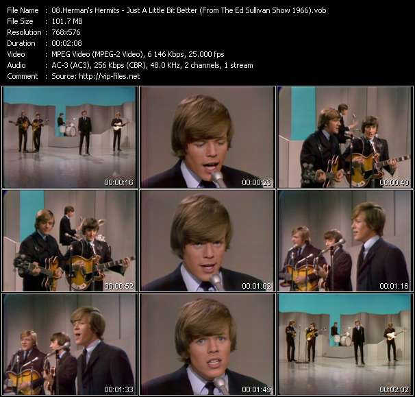Herman's Hermits - Just A Little Bit Better (From The Ed Sullivan Show 1966)