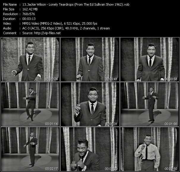 Jackie Wilson - Lonely Teardrops (From The Ed Sullivan Show 1962)