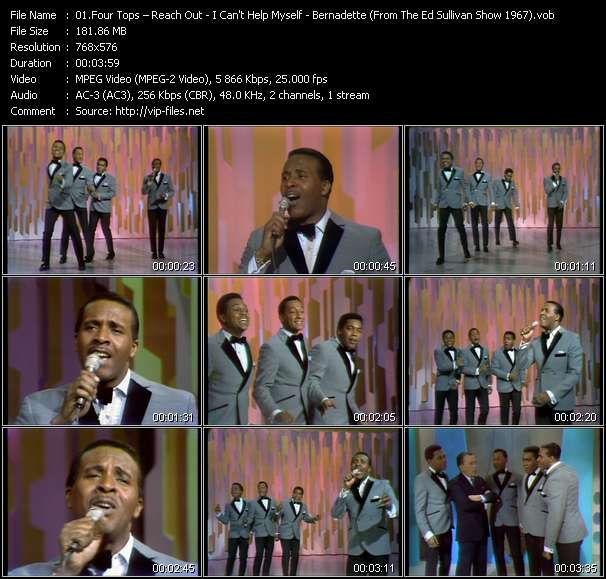 Four Tops - Reach Out I'll Be There - I Can't Help Myself - Bernadette (From The Ed Sullivan Show 1967)