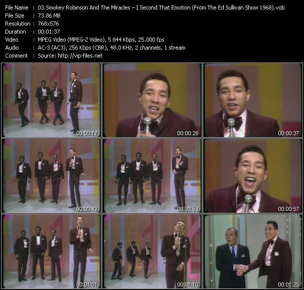Smokey Robinson And The Miracles - I Second That Emotion (From The Ed Sullivan Show 1968)