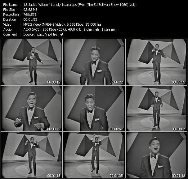 Jackie Wilson - Lonely Teardrops (From The Ed Sullivan Show 1960)