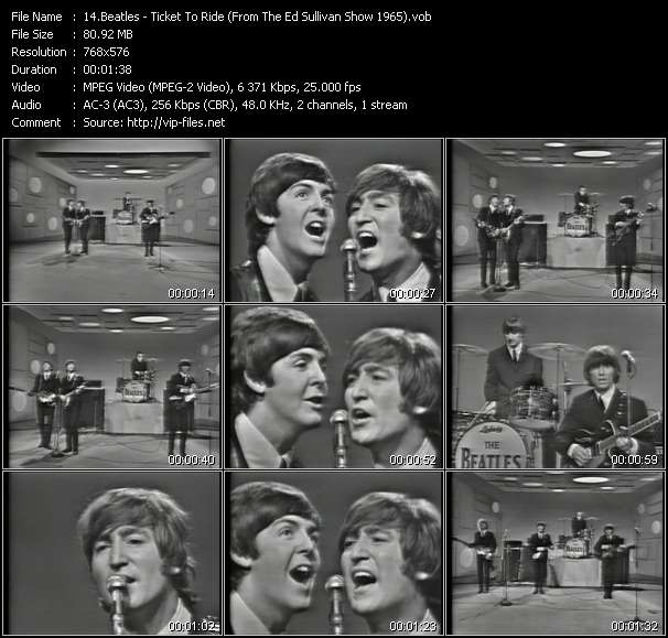 Beatles - Ticket To Ride (From The Ed Sullivan Show 1965)
