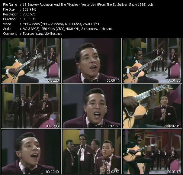 Smokey Robinson And The Miracles - Yesterday (From The Ed Sullivan Show 1968)