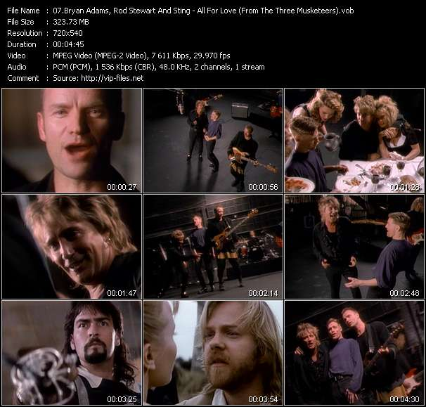 "B. Adams, Rod Stewart And Sting - All For Love (From ""The Three Musketeers"")"