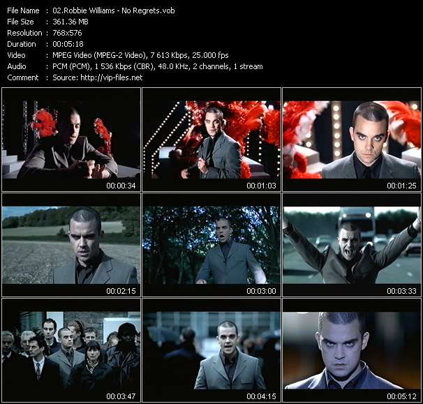 screenschot of Robbie Williams video