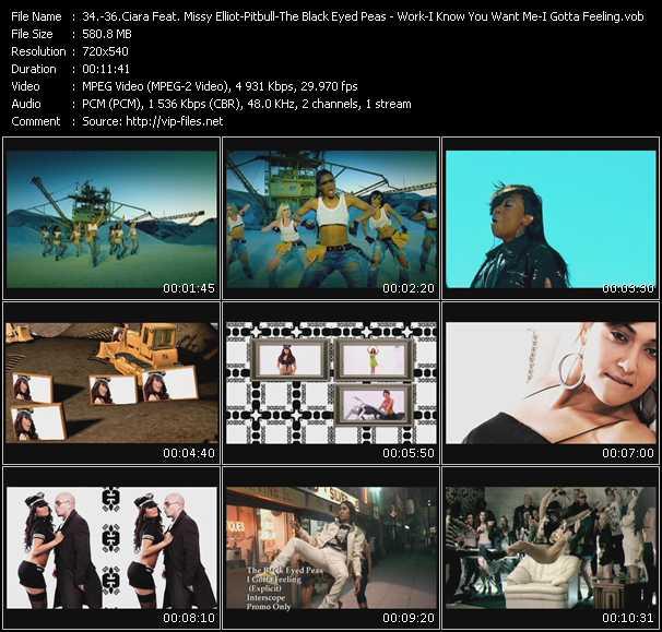 Ciara Feat. Missy Elliott - Pitbull - Black Eyed Peas - Work-I Know You Want Me (Calle Ocho)-I Gotta Feeling