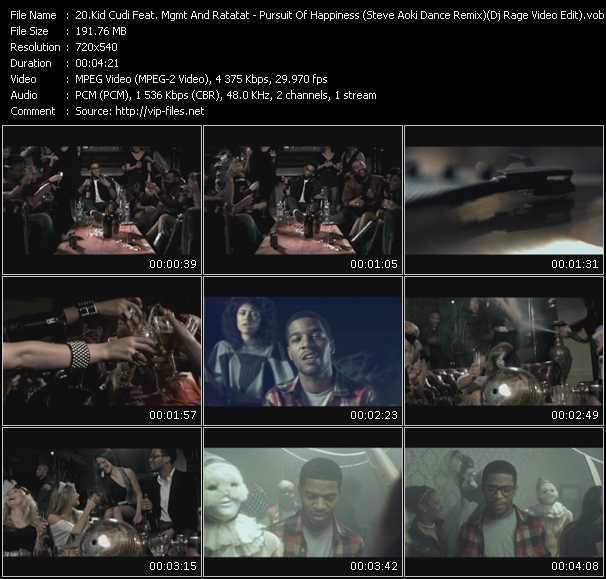 Kid Cudi Feat. Mgmt And Ratatat - Pursuit Of Happiness (Steve Aoki Dance Remix) (Dj Rage Video Edit)