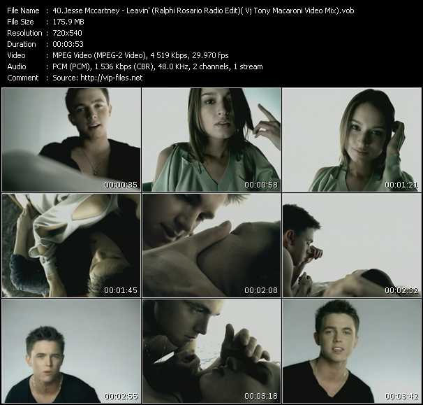 Jesse McCartney - Leavin' (Ralphi Rosario Radio Edit) ( Vj Tony Macaroni Video Mix)