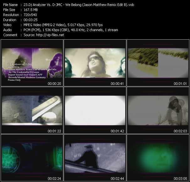 Dj Analyzer Vs. D-Jmc - We Belong (Jason Matthew Remix Edit B) (ISV Video Mix By The Undeniable-D.Gauss)