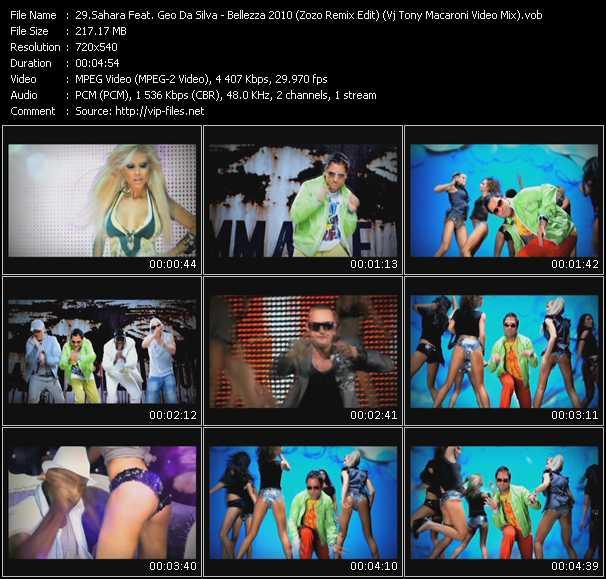 Sahara Feat. Geo Da Silva - Bellezza 2010 (Zozo Remix Edit) (Vj Tony Macaroni Video Mix)
