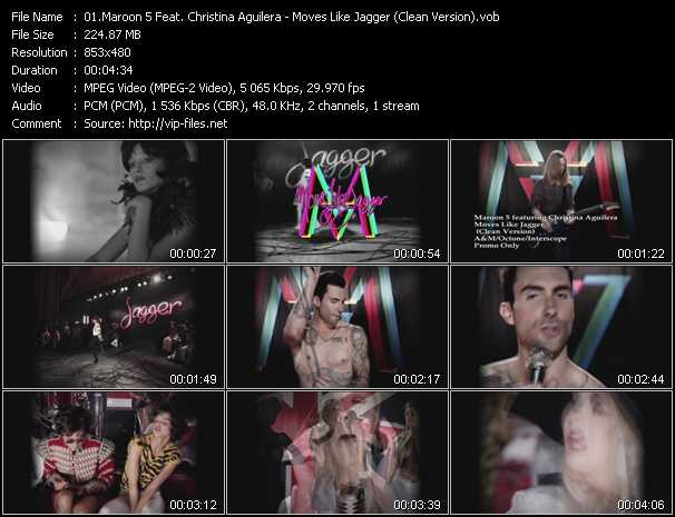 Maroon 5 Feat. Christina Aguilera - Moves Like Jagger (Clean Version)