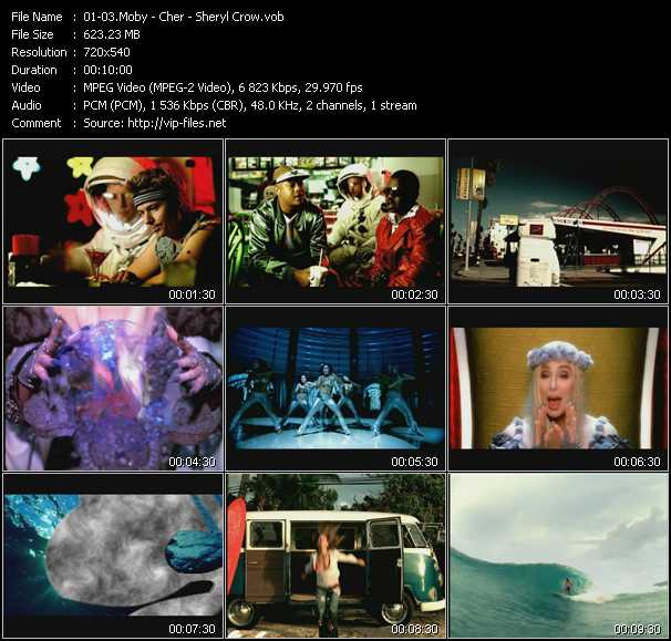 screenschot of Moby - Cher - Sheryl Crow video