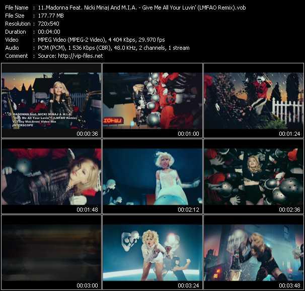 Madonna Feat. Nicki Minaj And M.I.A. - Give Me All Your Luvin' (LMFAO Remix) (Vj Tony MacAroni Video Mix)
